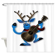 Dancing Reindeer playing guitar Shower Curtain