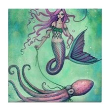 Mermaid with Octopus Tile Coaster
