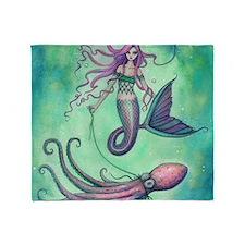 Mermaid with Octopus Throw Blanket