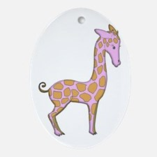 Adorable Pink Giraffe Girly Sweet Ornament (Oval)