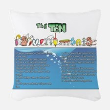 The Ten Fishmandments Woven Throw Pillow
