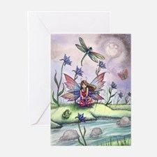 Magic at Dusk Fairy Dragonfly and F Greeting Cards