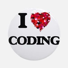 I love Coding Ornament (Round)