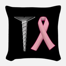 Screw Breast Cancer! Woven Throw Pillow