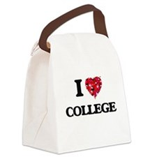 I Love College Canvas Lunch Bag