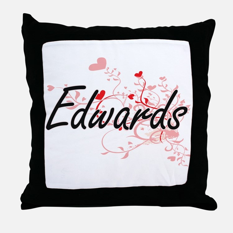 Edwards Artistic Design with Hearts Throw Pillow