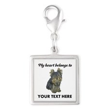 Custom Yorkshire Terrier Silver Square Charm