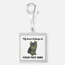 Custom Yorkshire Terrier Silver Square Charm