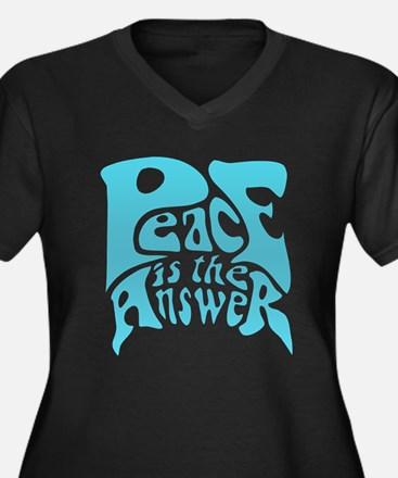 Peace is the Answer Women's Plus Size V-Neck Dark
