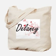 Delaney Artistic Design with Hearts Tote Bag