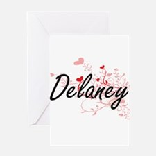 Delaney Artistic Design with Hearts Greeting Cards