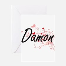 Damon Artistic Design with Hearts Greeting Cards