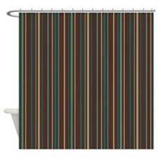 Retro Brown Green Striped Shower Curtain