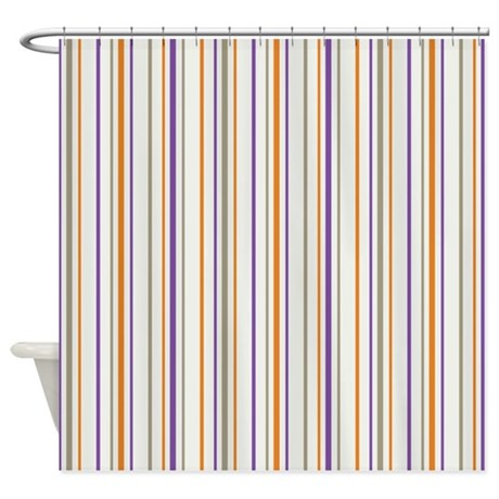 Retro Orange Purple Striped Shower Curtain By 1512blvd
