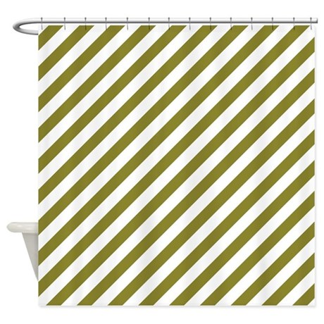 Olive Green Diagonal Striped Shower Curtain By 1512blvd