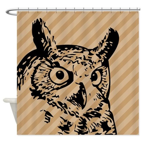 Tan Striped Owl Shower Curtain By 1512blvd