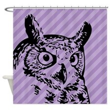 Purple Striped Owl Shower Curtain