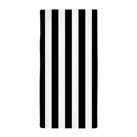 black and white vertical striped beach towel