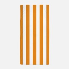 Orange and White Vertical Striped Beach Towel