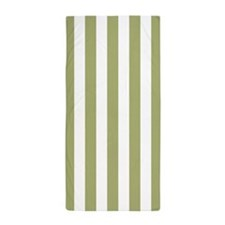 Sage Green and White Vertical Striped Beach Towel