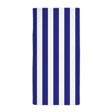 Royal Blue and White Vertical Striped Beach Towel