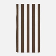 Brown and White Vertical Striped Beach Towel