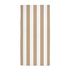 Sand and White Vertical Striped Beach Towel