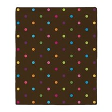 Chocolate Polka Dots Throw Blanket (two-sided)