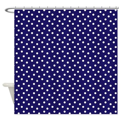 Navy Blue Polka Dots Shower Curtain By 1512blvd
