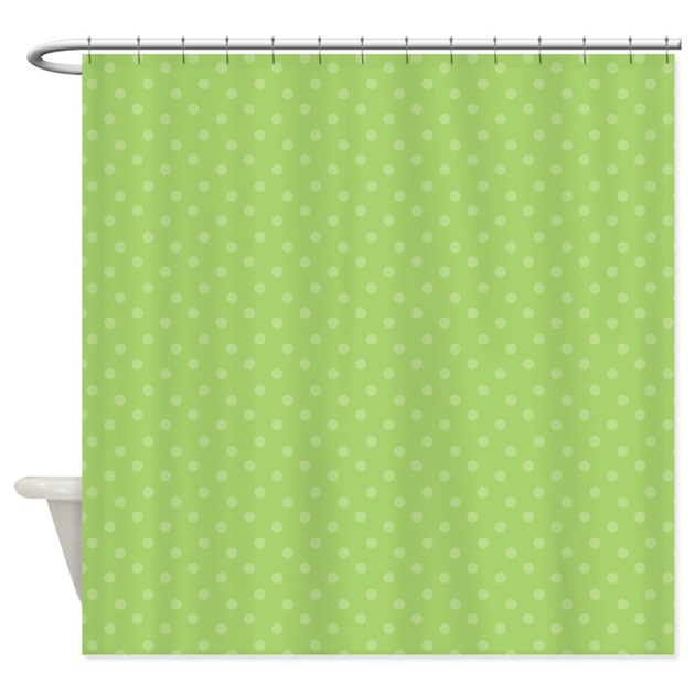 Light Green Polka Dotted Shower Curtain By 1512blvd