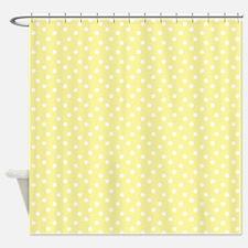 Lemon Chiffon Polka Dots Shower Curtain