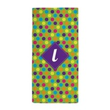 Rainbow Dots Monogram L Beach Towel