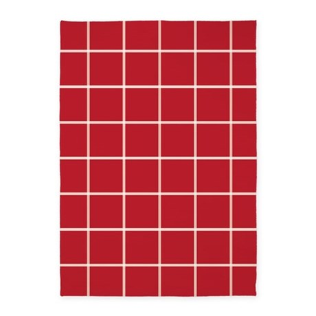 Modern Red Plaid 5 X7 Area Rug By 1512blvd