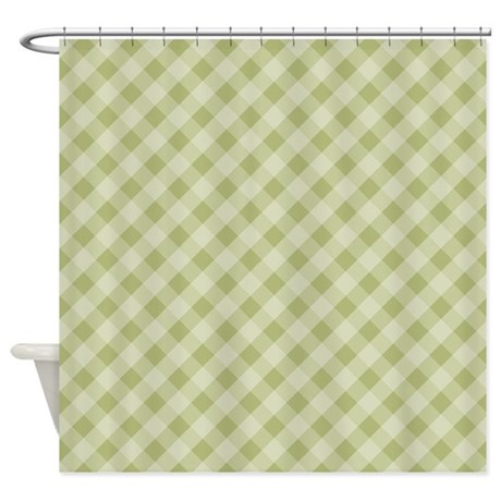 Olive Green Diagonal Gingham Shower Curtain By 1512blvd