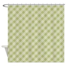 Olive Green Diagonal Gingham Shower Curtain