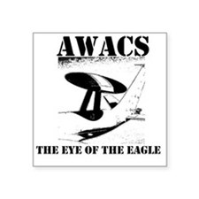 "AWACS 1 black Square Sticker 3"" x 3"""