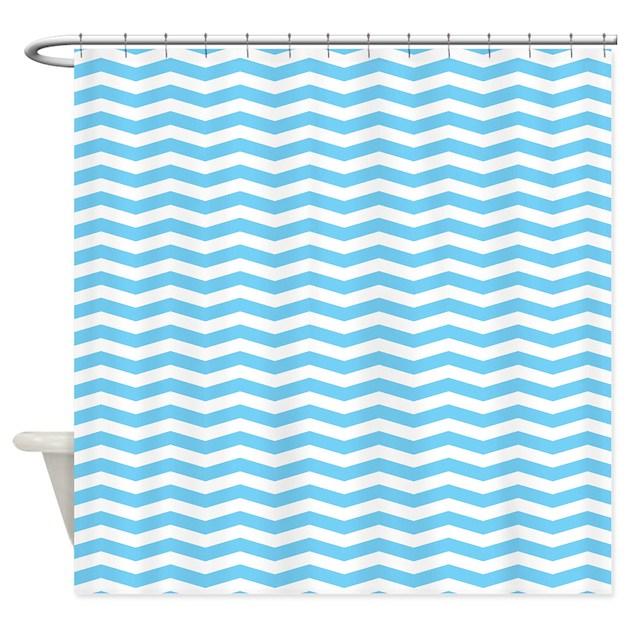 baby blue chevron shower curtain by 1512blvd