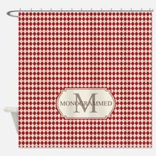 Retro Monogrammed Red Argyle Shower Curtain