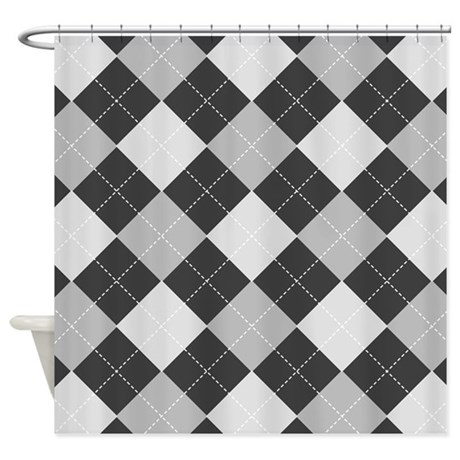 Charcoal Gray Argyle Shower Curtain By 1512blvd