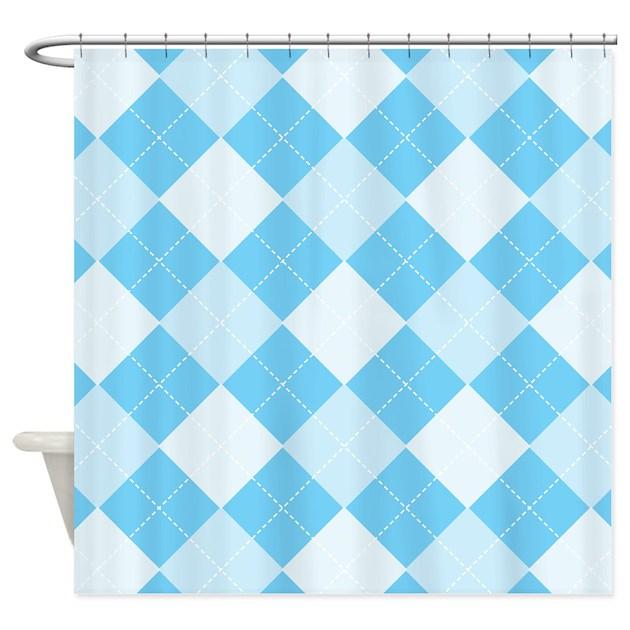 baby blue argyle shower curtain by 1512blvd