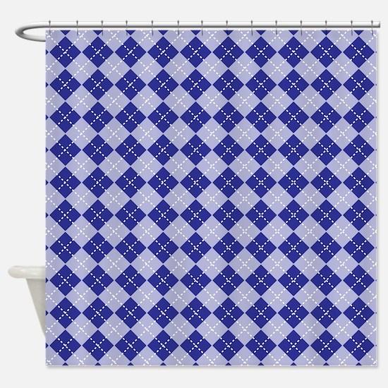 Dark Blue Argyle Shower Curtain