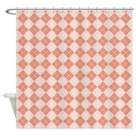 Coral Pink Argyle Shower Curtain By 1512blvd