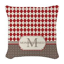 Retro Monogrammed Red Argyle Woven Throw Pillow