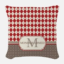 Retro Monogrammed Red Argyle Woven Throw Pillow
