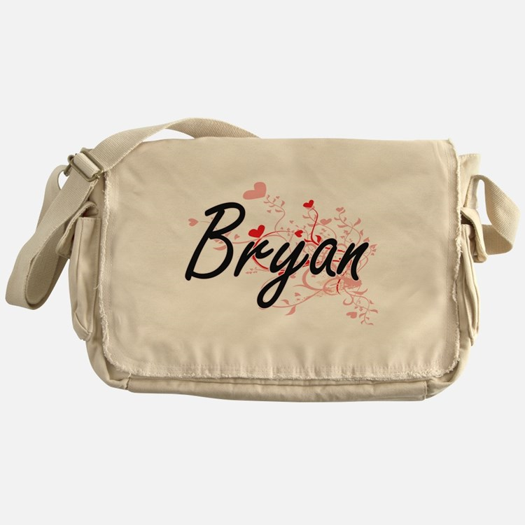 Bryan Artistic Design with Hearts Messenger Bag