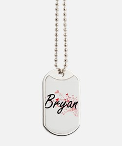 Bryan Artistic Design with Hearts Dog Tags