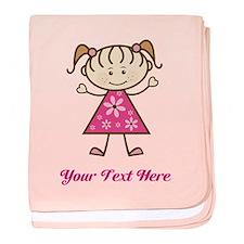 Pink Stick Figure Girl baby blanket
