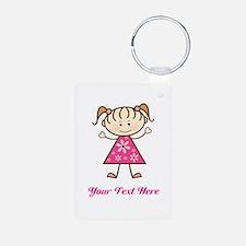 Pink Stick Figure Girl Keychains