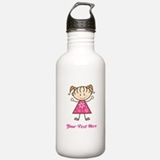 Pink Stick Figure Girl Sports Water Bottle