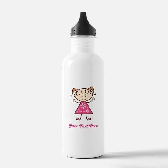 Pink Stick Figure Girl Sports Water Bottle